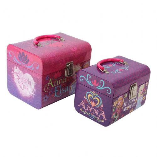 Disney Frozen Childrens Vanity Cases - Set Of 2 Carry Cases - Anna and Elsa Sisterly Love Theme